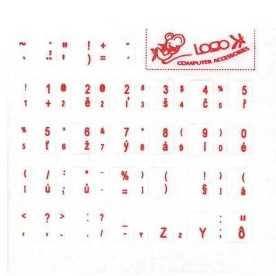 Přelepky na klávesnici PremiumCord CZ červené