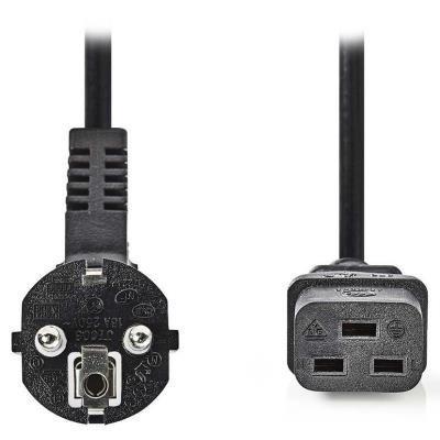 NEDIS napájecí kabel 230V/ přípojný 10A/ konektor IEC-320-C19/ úhlová zástrčka Schuko/ černý/ 2m
