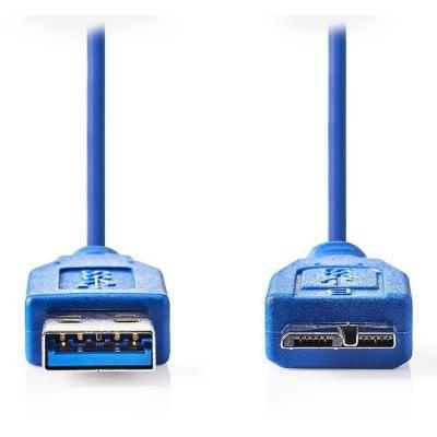 NEDIS kabel USB 3.0/ zástrčka A - zástrčka micro B/ modrý/ 1m
