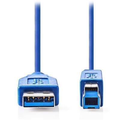 NEDIS kabel USB 3.0/ zástrčka A - zástrčka B/ k tiskárně apod./ modrý/ 3m