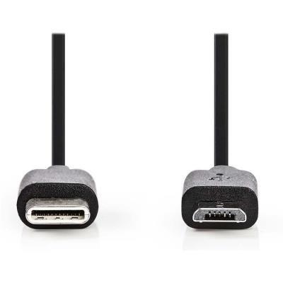 Kabel Nedis USB 2.0 typ C na micro B 1m černý