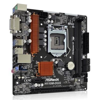 OPRAVENÉ - ASRock H110M-DGS R3.0 / H110 / LGA1151 / 2x DDR4 2133 / DVI-D / 4x SATA3 / 4x USB2.0 / 2x USB3.0 / mATX