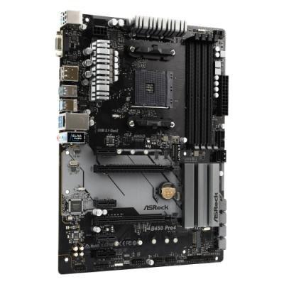 ASRock B450 Pro4 / AM4 / 4x DDR4 DIMM / HDMI / DP / D-Sub / M.2 / USB Type-C / ATX