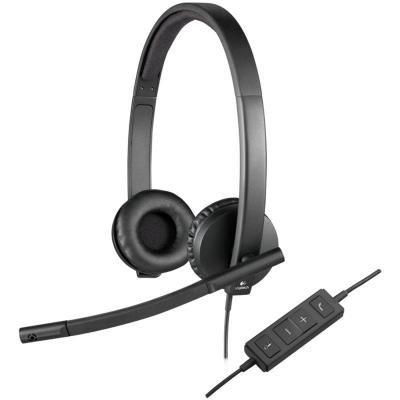 LOGITECH Headset H570e Stereo/ drátová sluchátka + mikrofon/ USB/ černá