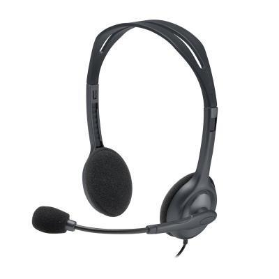 LOGITECH Headset Stereo H111/ drátová sluchátka + mikrofon/ 3,5 mm jack/ šedá