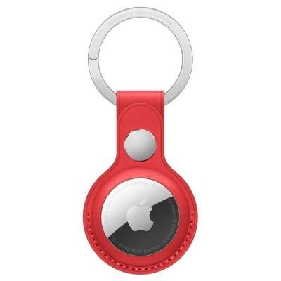 Apple AirTag Leather Key Ring červená
