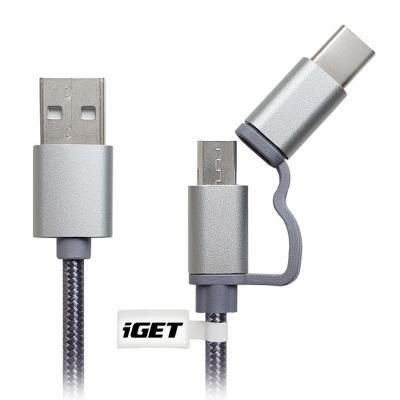IGET Univerzální datový a nabíjecí kabel o délce 1 m s konektorem USB-C prodloužená verze a microUSB prodl. verze,  2A