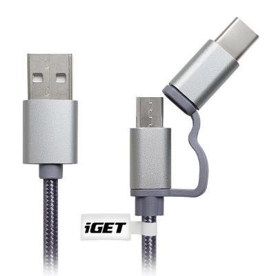POŠKOZENÝ OBAL - IGET Univerzální datový a nabíjecí kabel o délce 1 m s konektorem USB-C prodloužená verze a microUSB prodl. v...
