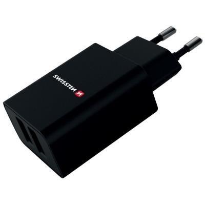 Napájecí adaptér SWISSTEN 2x USB-A 2,1A černý