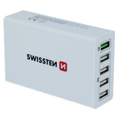 Swissten Síťový Adaptér Qualcomm 3.0 Quick Charge + Smart Ic 5X Usb 50W Power Bílý
