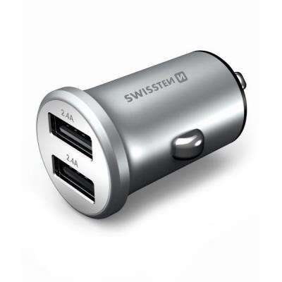 Napájecí adaptér SWISSTEN Metal 2x USB stříbrný