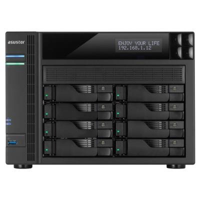 Asustor AS6208T   8-bay HS NAS, Intel Celeron QC, 4 GB DDR3L, 4x GbE, 3x USB 3.0, 2x USB 2.0, 2x eSATA, HDMI 1.4b,
