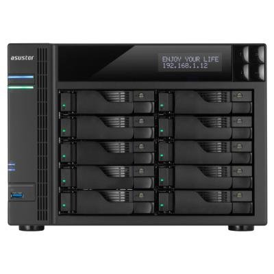 Asustor AS6210T 10-bay HS NAS, Intel Celeron QC, 4 GB DDR3L, 4x GbE, 3x USB 3.0, 2x USB 2.0, 2x eSATA, HDMI 1.4b,