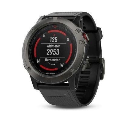 GARMIN GPS chytré hodinky fenix5X Sapphire Gray Optic, Black band
