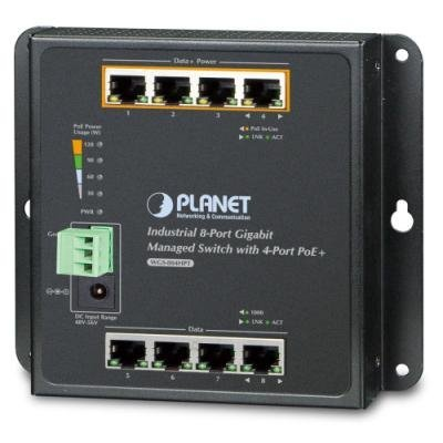 Planet WGS-804HPT nástěnný PoE switch 8x1000B-T,4x PoE IEEE 802.3at <120W, správa Web/SNMP,-40~75°C,fanless