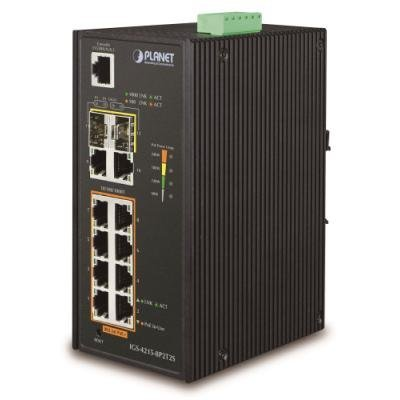Planet IGS-4215-8P2T2S Gigabit PoE switch 10x TP (8x PoE)+ 2x SFP, 802.3at 240W,IP30, -40 až 75°C, SNMP