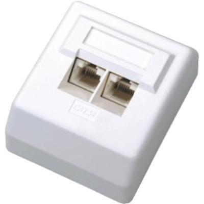Datová zásuvka DATACOM UTP cat.5e 2x RJ45 45°