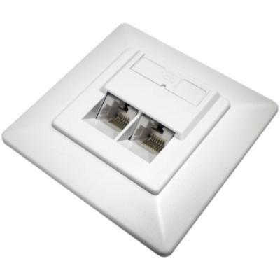 DATACOM Datová zásuvka UTP CAT5E 2xRJ45 pod omítku 45st. bílá