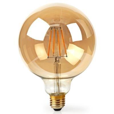 NEDIS Wi-Fi chytrá LED žárovka s vláknem/ E27/ kulatá/ 5W/ 230V/ 500lm/ 2200K/ teplá bílá/ stmívatelná/ zlatá