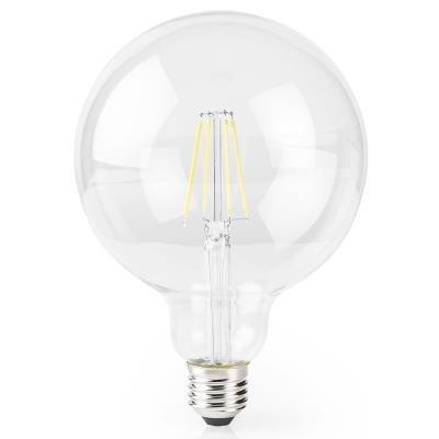 NEDIS Wi-Fi chytrá LED žárovka s vláknem/ E27/ kulatá/ 5W/ 230V/ 500lm/ 2700K/ teplá bílá/ stmívatelná/ čirá