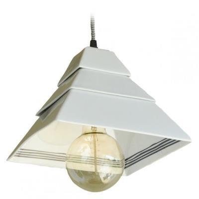 TESLA interiérové svítidlo/ porcelánové/ PYRAMIDA II/ 22x22x18 cm/ černo-bílé