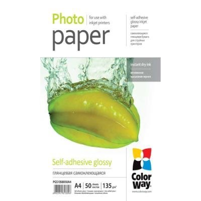 COLORWAY fotopapír/ glossy self-adhesive 135g/m2, A4/ 50 kusů