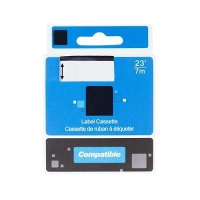 PRINTLINE kompatibilní páska s DYMO, 45021, S0720610,12mm, 7m, bílý tisk/černý podklad, D1