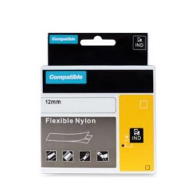 PRINTLINE kompatibilní páska s DYMO 18488, 12mm, 3.5m, černý tisk/bílý podklad, RHINO, nylonová, flexibilní
