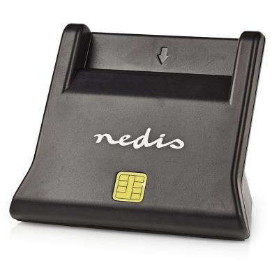 NEDIS čtečka čipových karet CRDRU2SM3BK/ Smart Card ID-1/ eObčanka/ standardní biometrické čipy/ USB 2.0/ černá