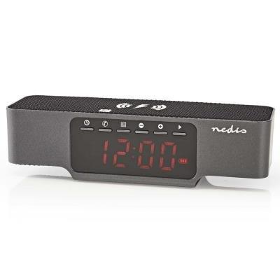 NEDIS digitální budík s rádiem/ bezdrátové nabíjení telefonu/ FM/ Bluetooth/ černý