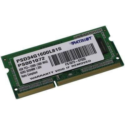 PATRIOT Ultrabook 4GB DDR3 1600MHz / SO-DIMM / CL11 / PC3-12800