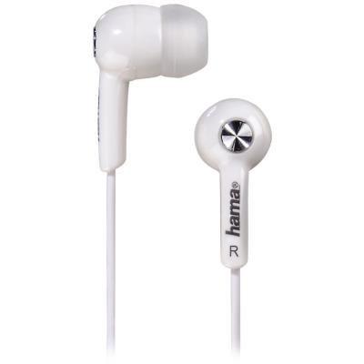 HAMA sluchátka Basic4Music/ silikonové špunty/ 3,5 mm jack/ citlivost 96 dB/mW/ bílá