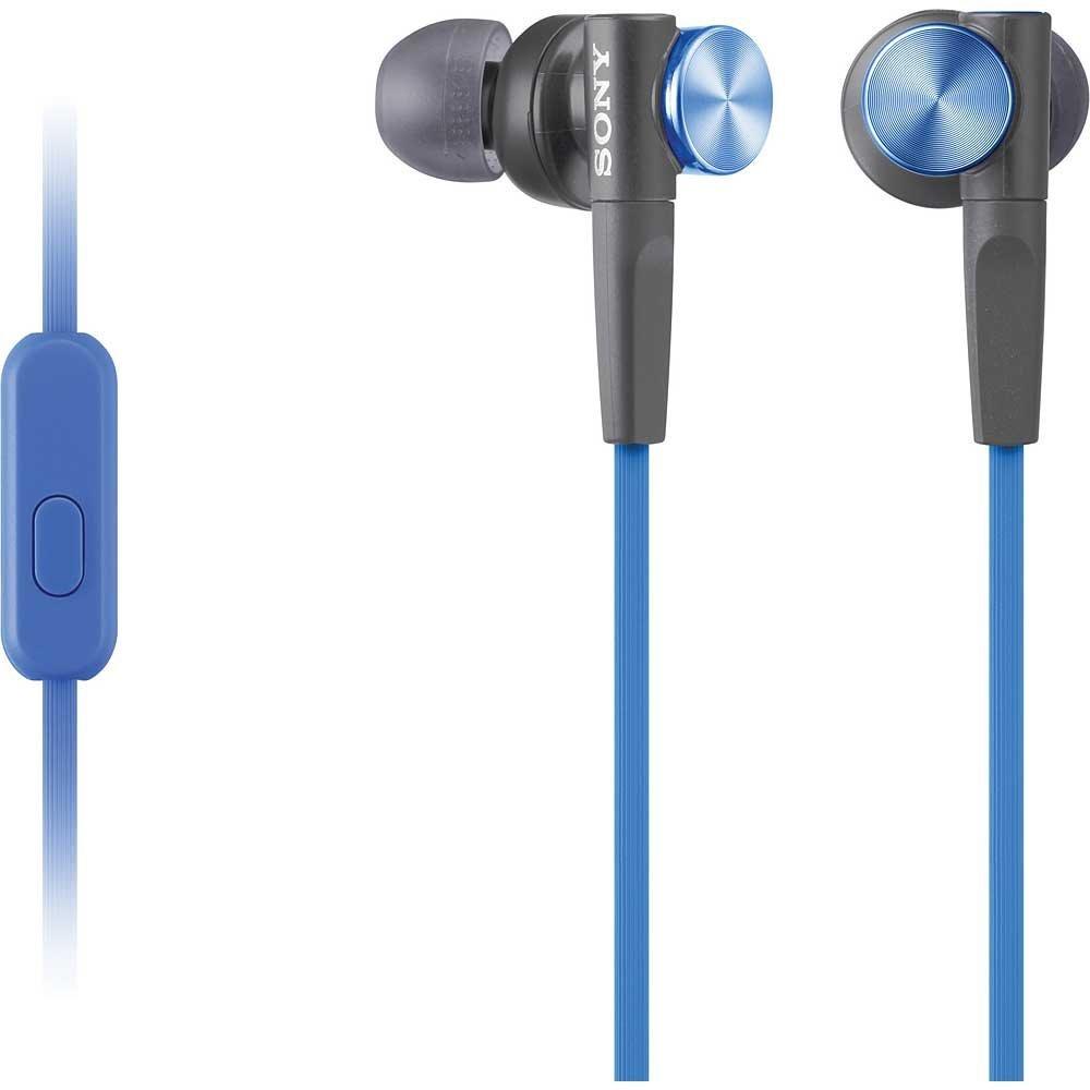 SONY headset do uší MDR-XB50APL/ sluchátka drátová + mikforon/ 3,5mm jack/ citlivost 106 dB/mW/ modrá