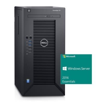 DELL PowerEdge T30/ Xeon Quad Core E3-1225 v5/ 8GB/ 2x 1TB SATA RAID 1/ DVDRW/ GLAN/ 3Y PS/ Win Svr 2016 Essentials