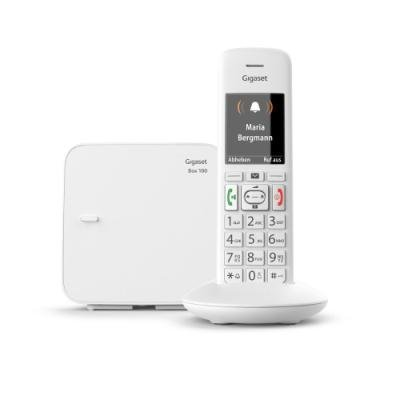 SIEMENS GIGASET E370 - DECT/GAP bezdrátový telefon, dětská chůvička, SOS funkce, barva bílá