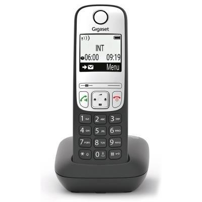 SIEMENS GIGASET A690 - DECT/GAP bezdrátový telefon, displej, handsfree, seznam 100 čísel, barva černá/ stříbrná