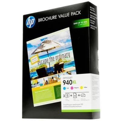 HP Paper 940XL Officejet Value Pack Brochure A4,100 pcs, 210 x 297 mm, 180 g/m2, CG898AE