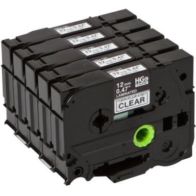 Páska Brother HGE-131V5 průhledná - černá 12 mm
