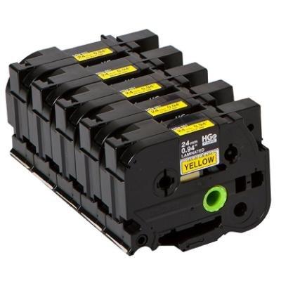 Páska Brother HGE-651V5 žlutá - černá 24 mm