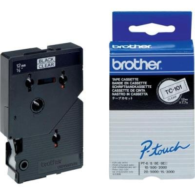 Páska Brother TC-101 průsvitná-černá 12mm