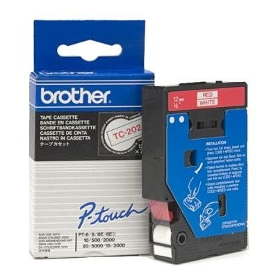 Páska Brother TC-202 bílá-červená 12mm