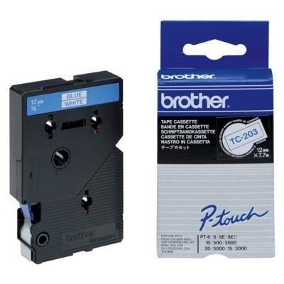 Páska Brother TC-203 bílá-modrá 12mm