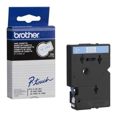 Páska Brother TC-293 bílá-modrá 9mm