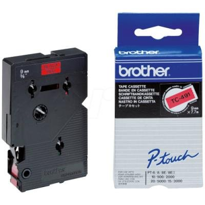 Páska Brother TC-491 červená-černá 9mm