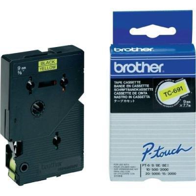 Páska Brother TC-691 žlutá-černá 9mm