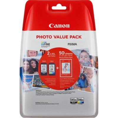Canon Cartridge PG-545XL/CL-546XL (CMYBk) + 50x GP-501 pro PIXMA MG2450, MG2550, MG2555, MX495, MG2950