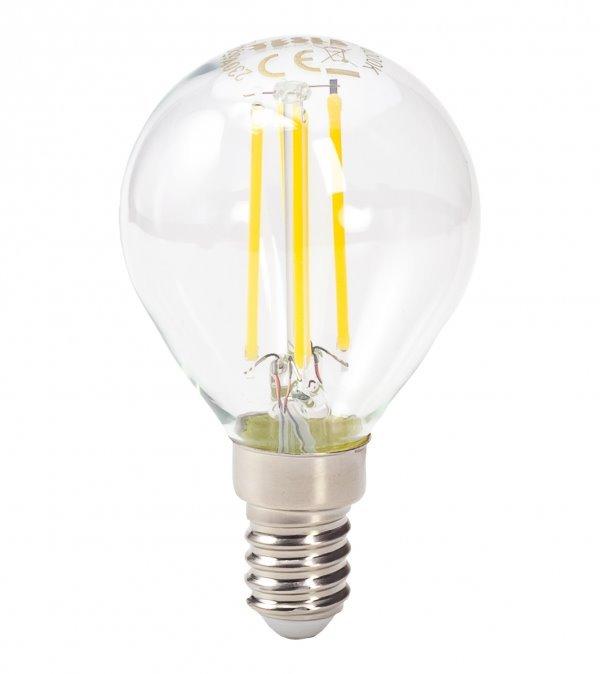 TESLA LED žárovka miniglobe FILAMENT RETRO/ E14/ 4W/ 230V/ 470lm/ 4000K/ denní bílá/ čirá